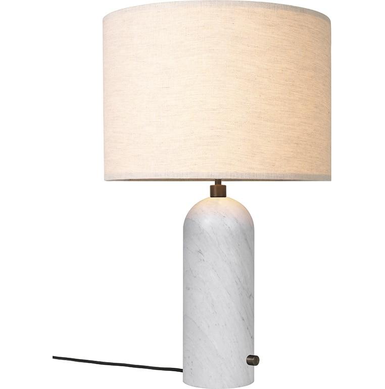 Gravity bordslampa large white marblecanvas shade GUBI Norrmalms