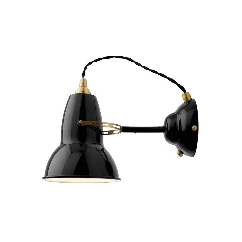 Original 1227 brass vägglampa jet black