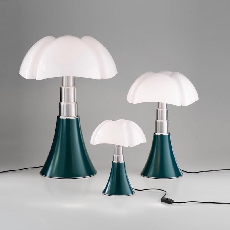 Minipipistrello bordslampa touch dimmer agave grön Martinelli Luce