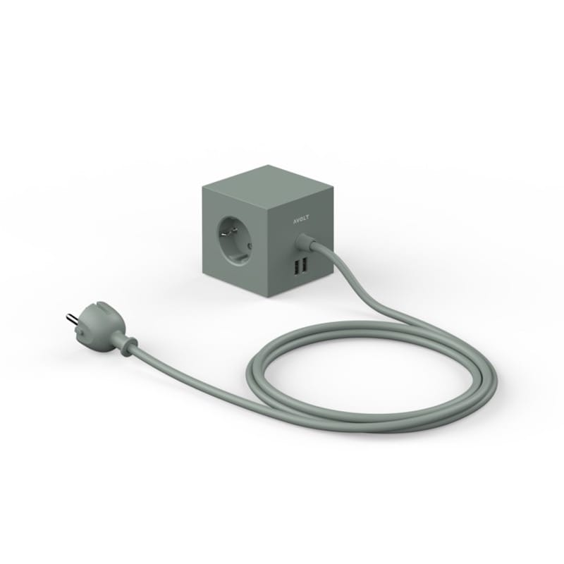 Square 1 USB magnet oak green
