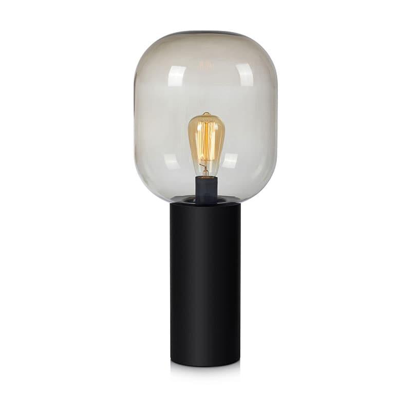 Brooklyn 56cm bordslampa svart/rökfärgat glas