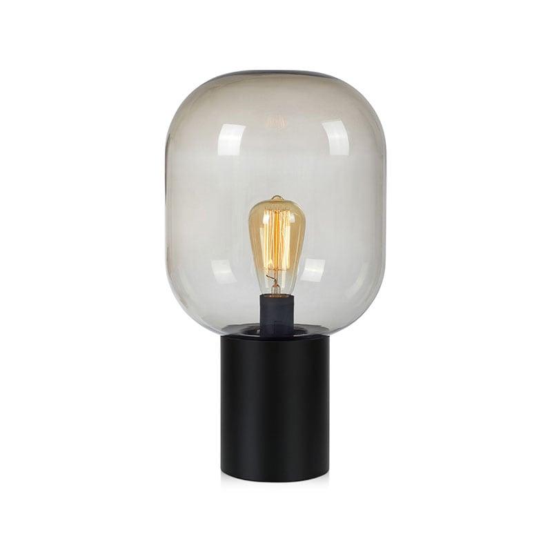 Brooklyn 44cm bordslampa svart/rökfärgat glas