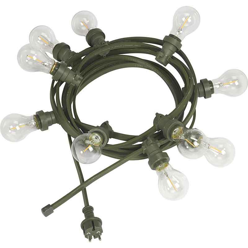 Bright light string 7M med klara ljuskällor/grön