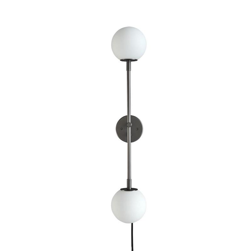 Drop vägglampa bulb mini grå