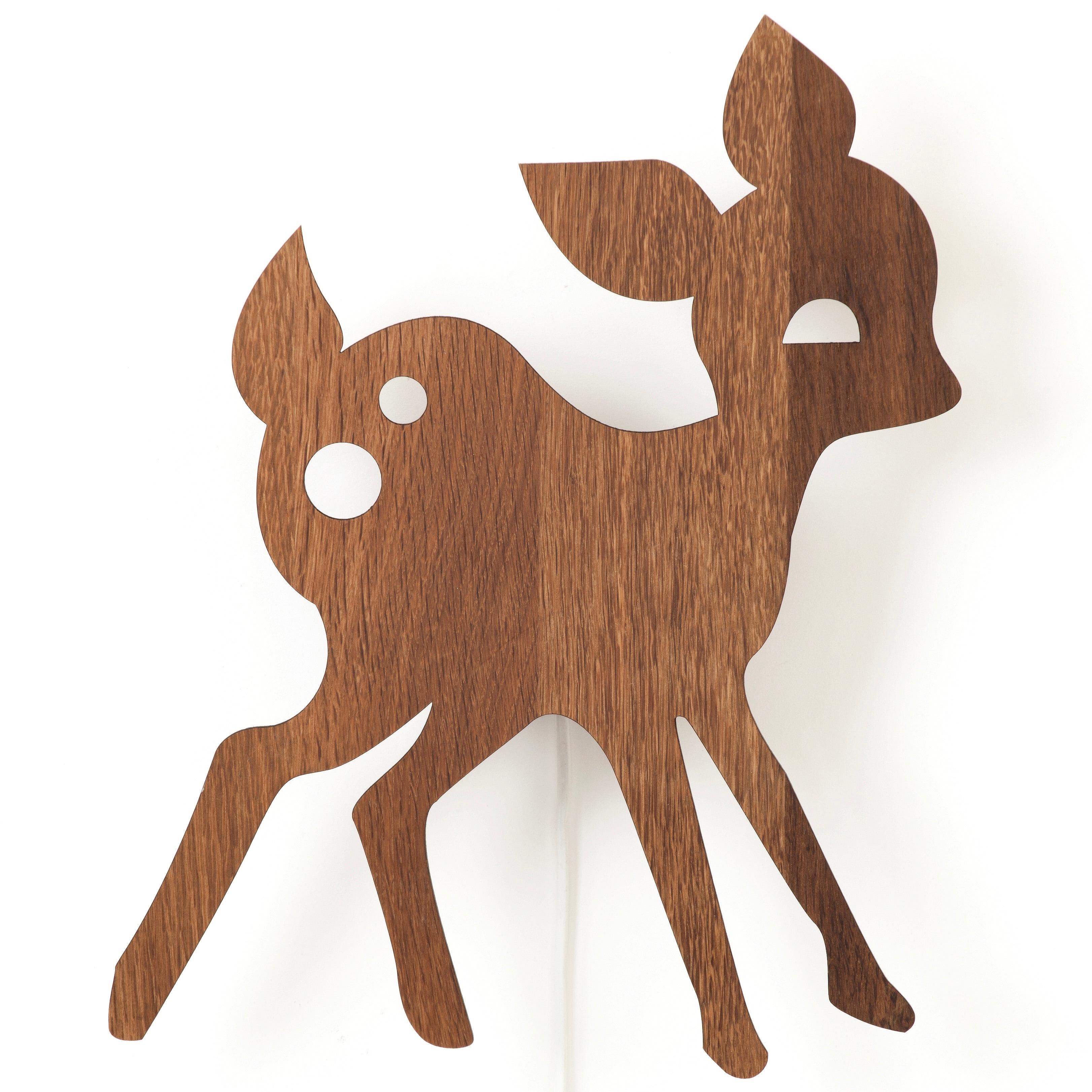 My deer lamp smoked oak vägglampa