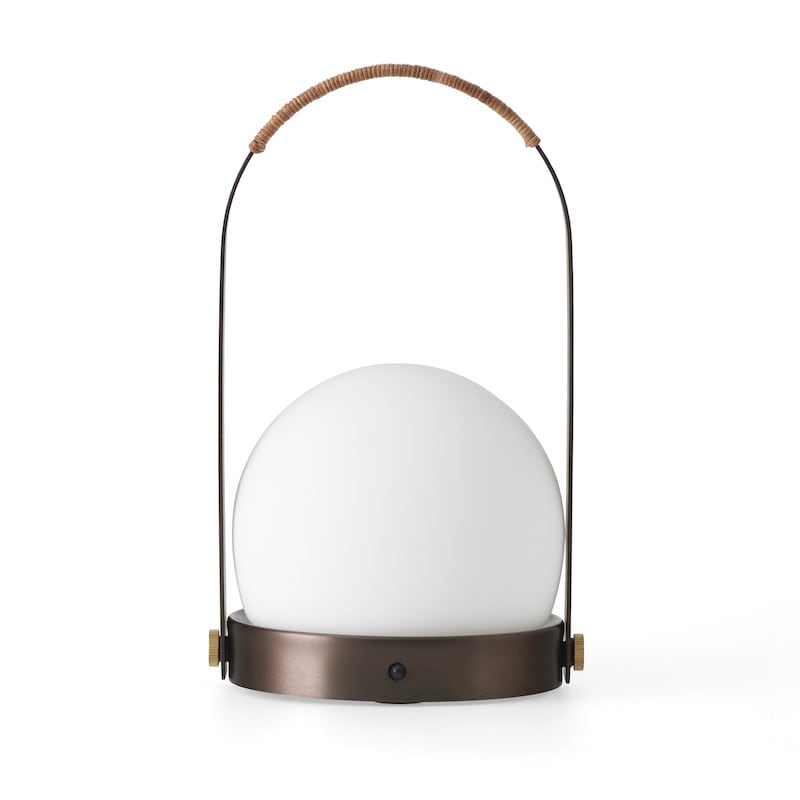 Carrie LED Bordslampa bronserad mässing/läder