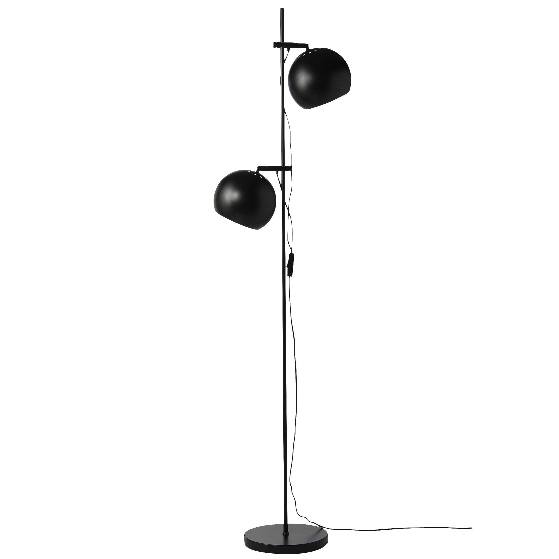 Ball dubbel golvlampa matt svart