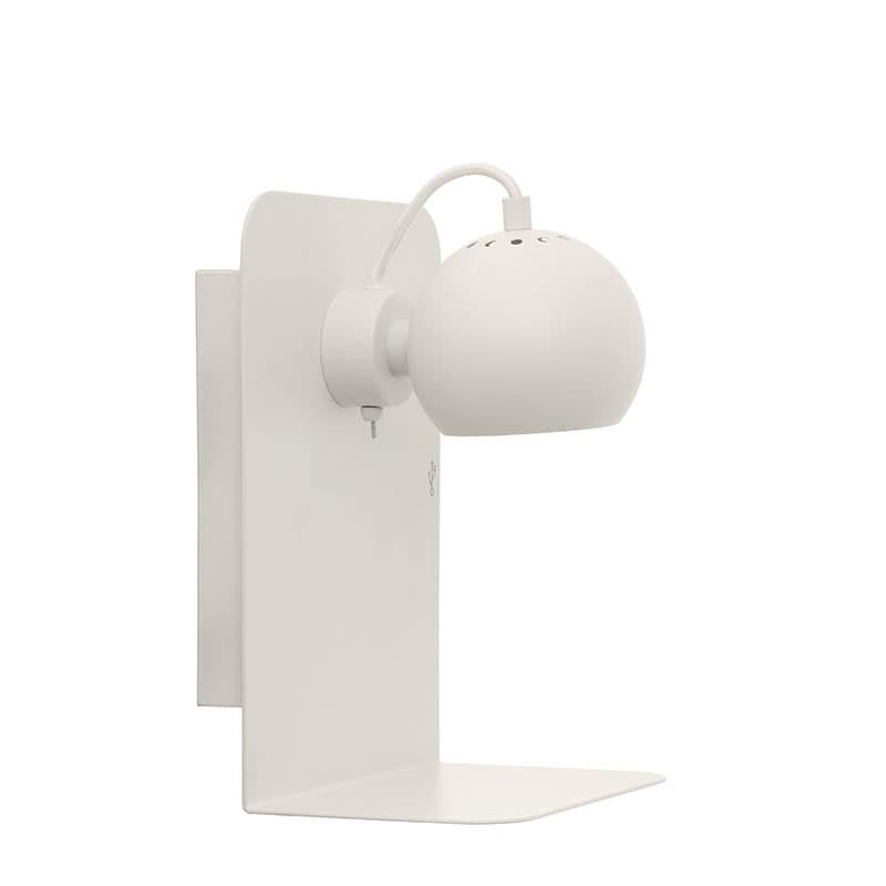 Ball USB vägglampa matt vit