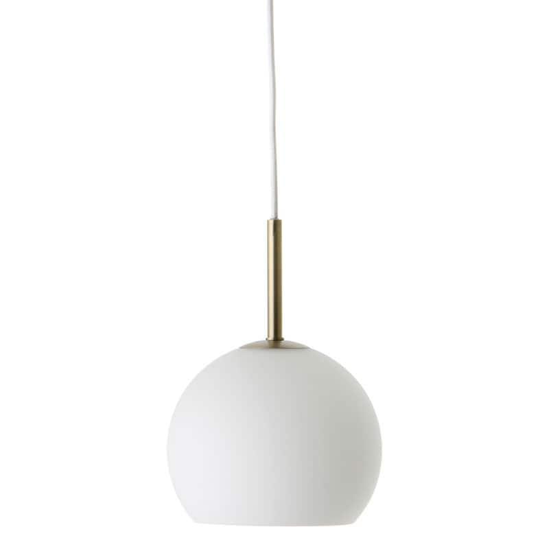 Ball Ø18 glass taklampa opal vit/antik mässing