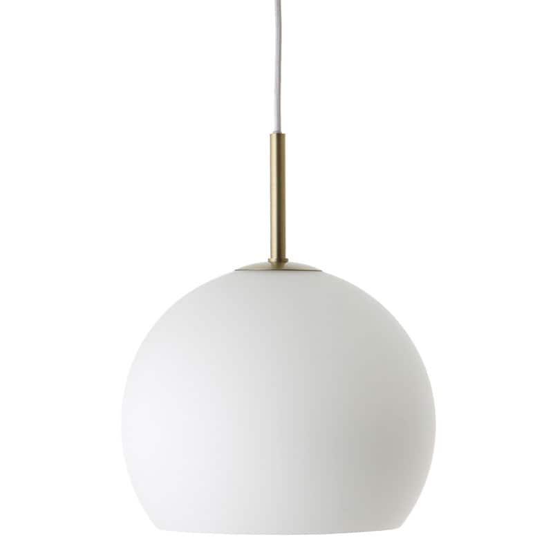 Ball Ø25 glass taklampa opal vit/antik mässing