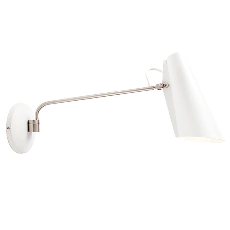 Birdy long Vägglampa vit/stål