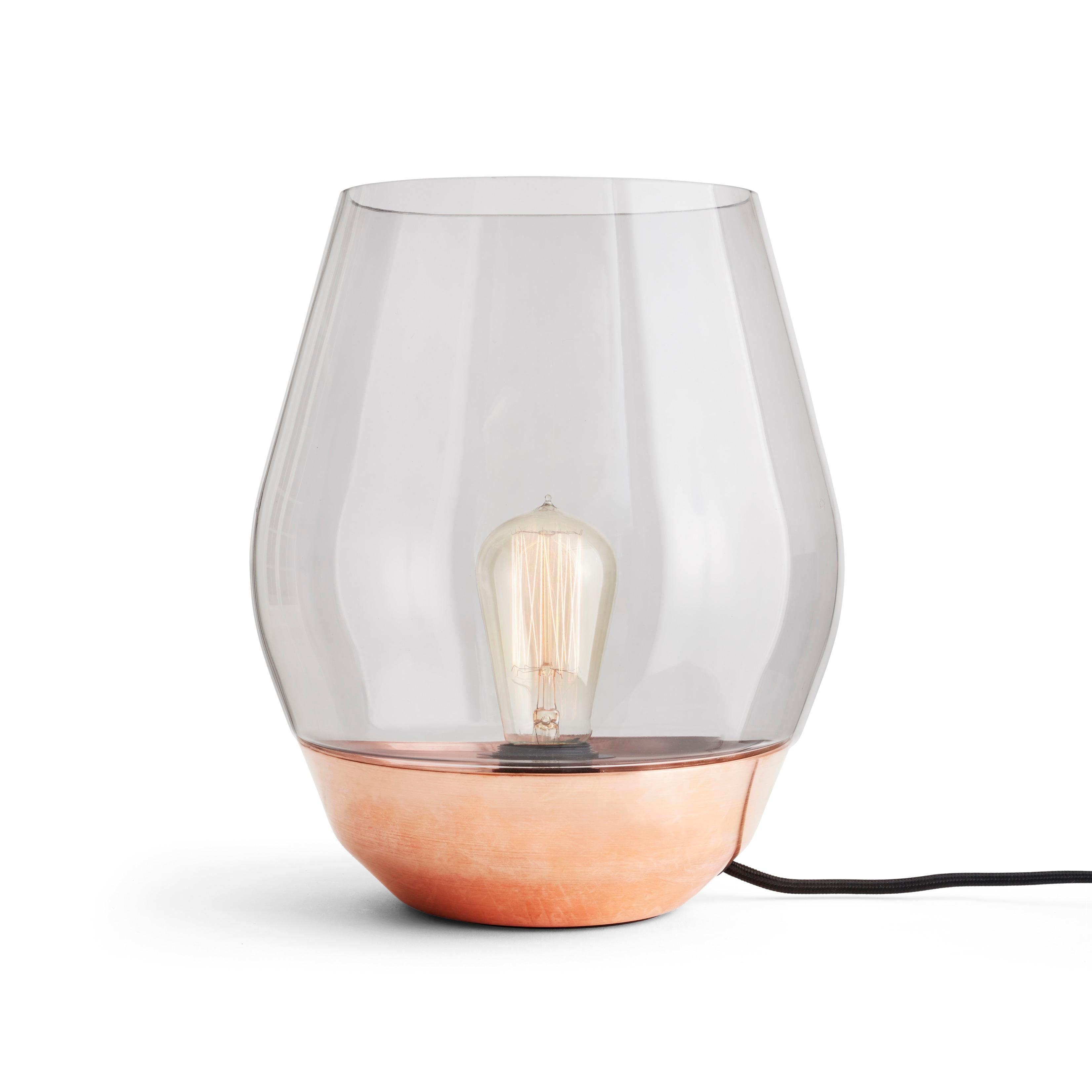 Bowl bordslampa rå koppar/rökfärgat glas