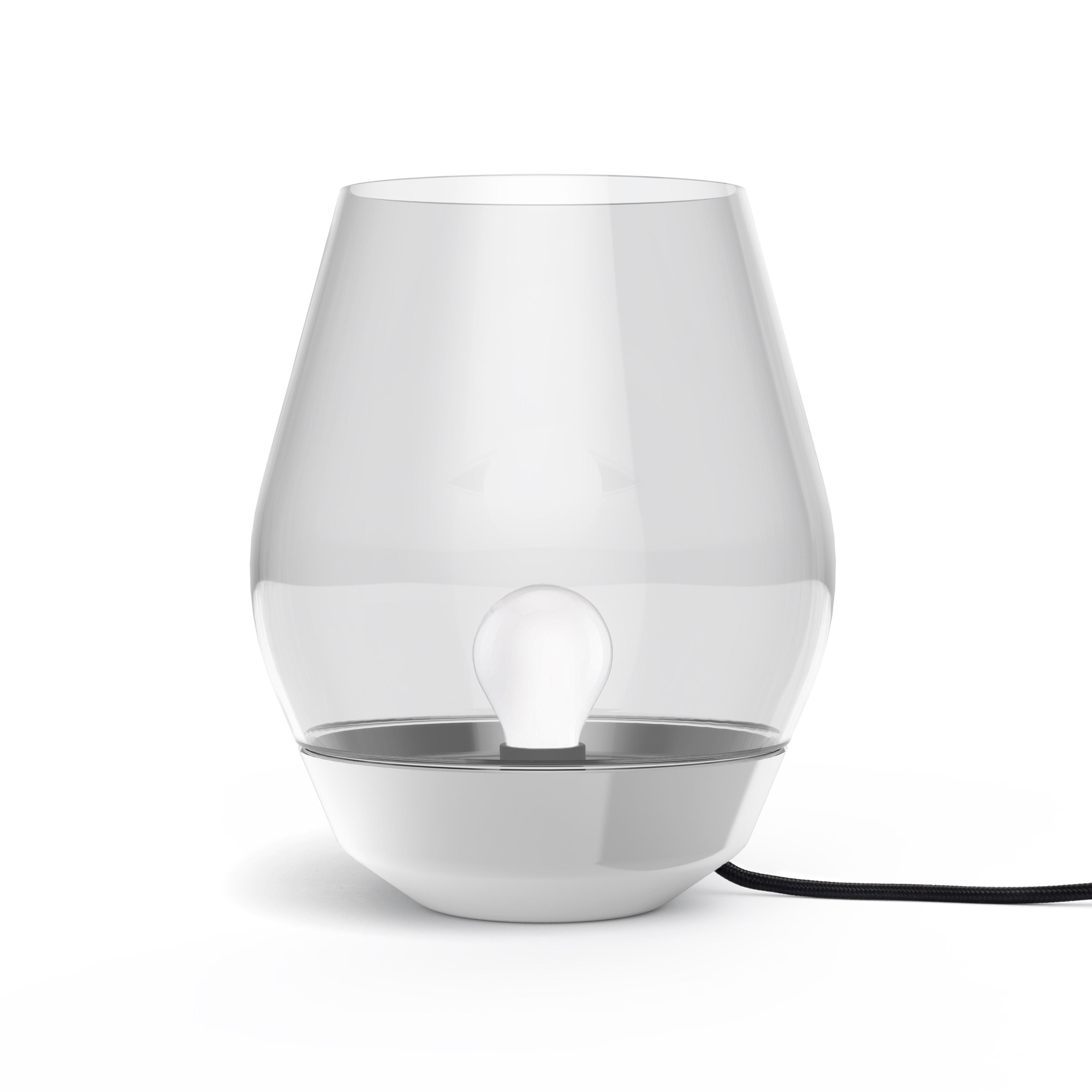 Bowl bordslampa rostfritt stål/ljust rökfärgat glas