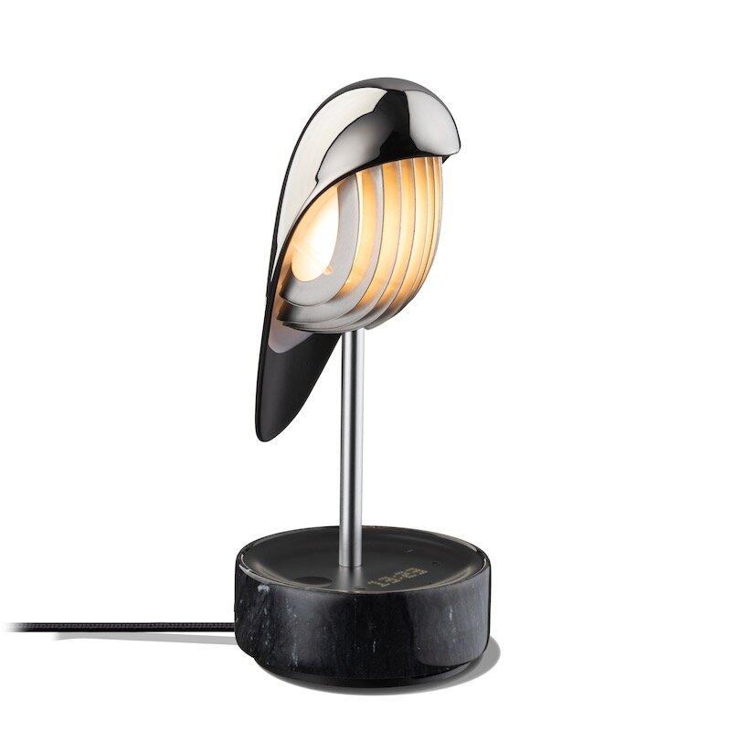 Chirp bordslampa/väckarklocka silver swan