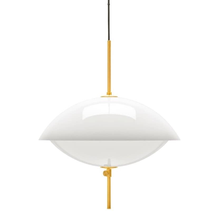 Clam Ø55 taklampa opal, mässing