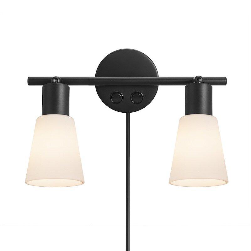 Cole Vägglampa 2-Spot Svart/Opal