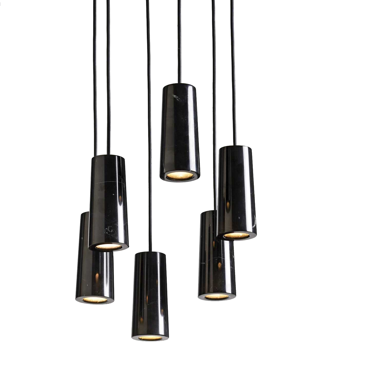 Core 6 kluster taklampa svart Marquina marmor