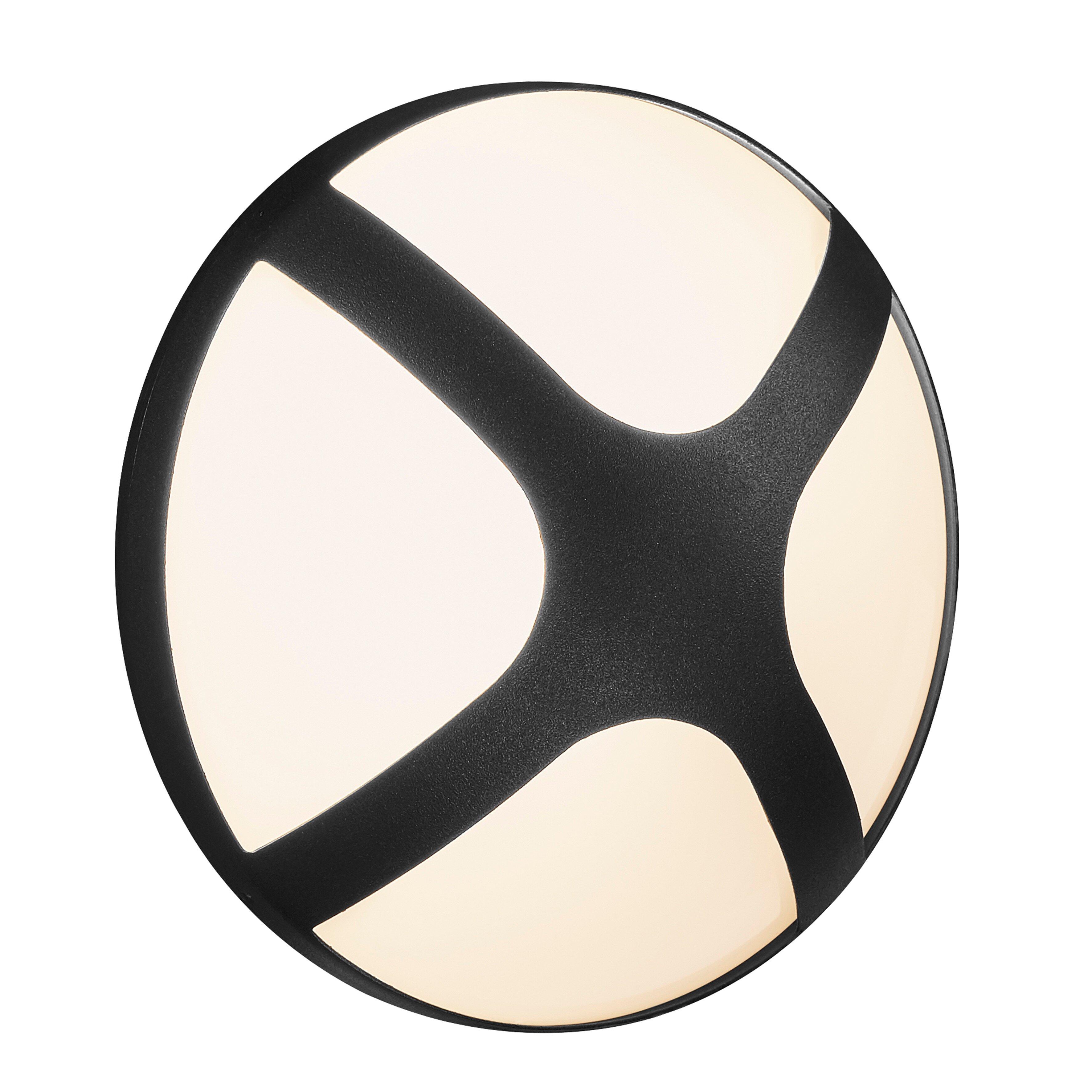 Cross 20 vägglampa svart/frostat glas