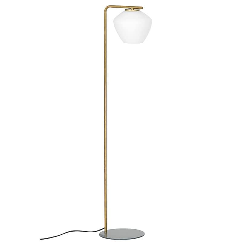 DK golvlampa råmässing/opalglas