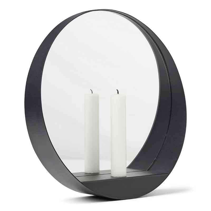 Glim vägg- ljusstake/spegel rund