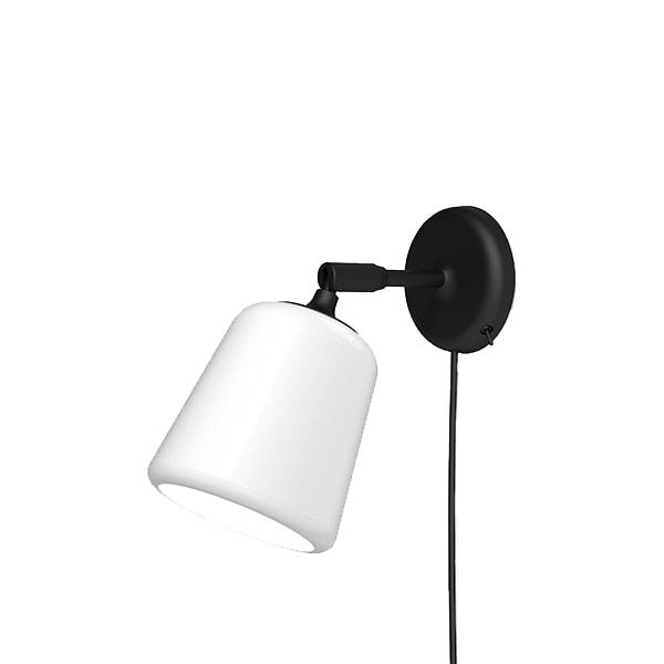 Material vägglampa vitt opalglas/svart