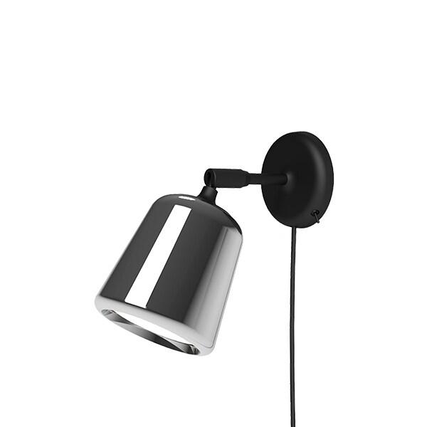 Material vägglampa rostfritt stål/svart