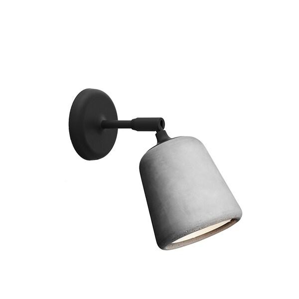 Material vägglampa ljusgrå betong/svart