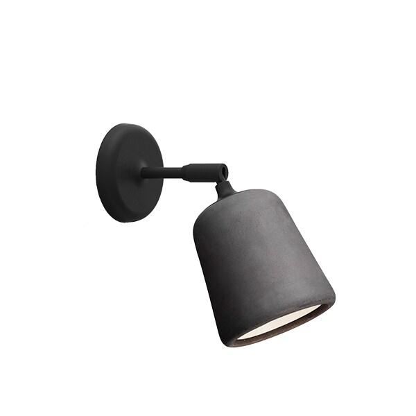 Material vägglampa mörkgrå betong/svart