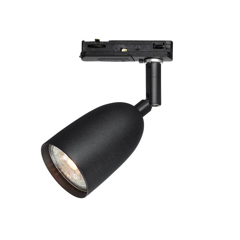Radiell spotlight svart/svart led Global 1-fas
