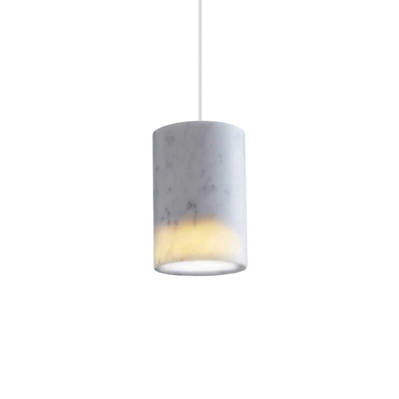 Solid cylinder taklampa vit carrara marmor