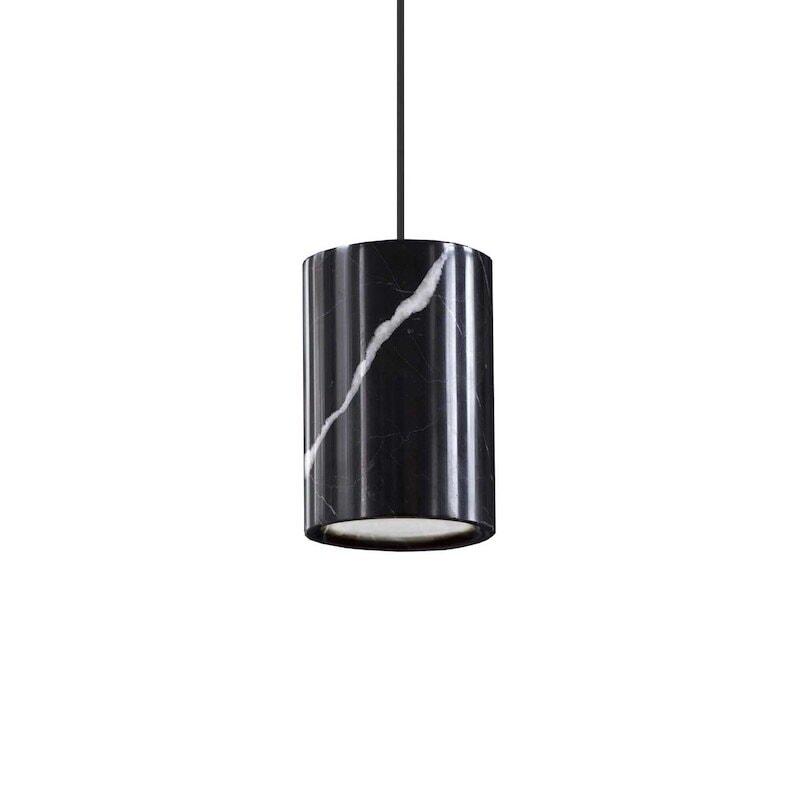 Solid cylinder taklampa svart marquina marmor