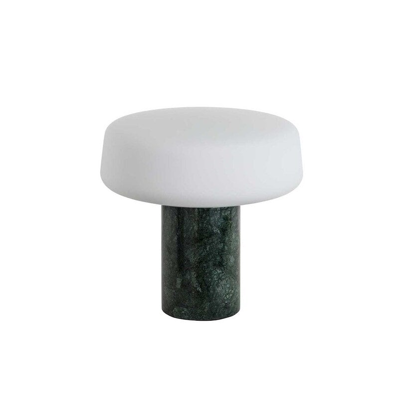Solid small bordslampa grön serpentine marmor