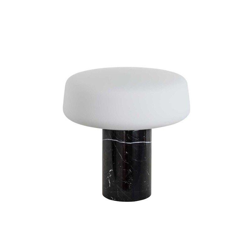Solid small bordslampa svart marquina marmor