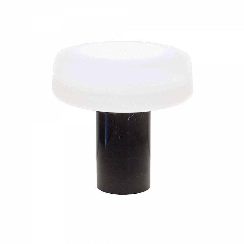 Solid bordslampa svart marquina marmor