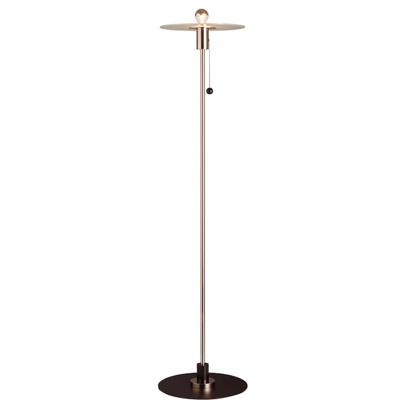 BST 23 Bauhaus golvlampa nickel/frostat glas