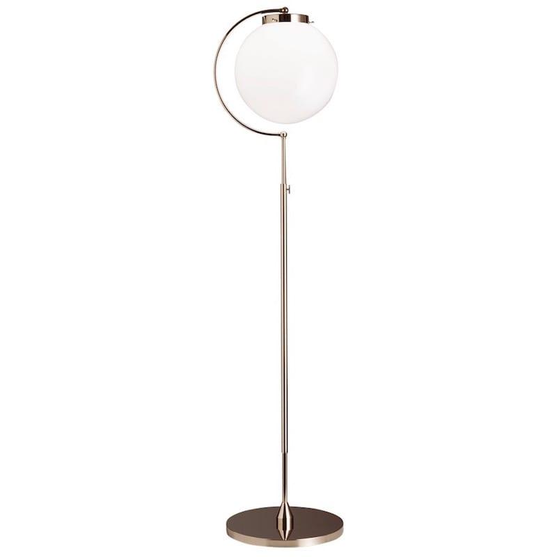 DSL 23 Bauhaus golvlampa nickel/opalglas