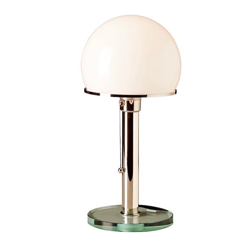 WG 25 GL Wagenfeld Bordslampa Glasplatta, förnicklad metall, opal glas