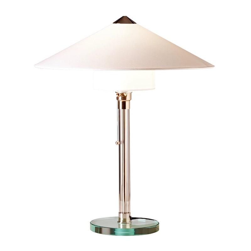 WG 27 Wagenfeld Bordslampa Glasplatta och glasrör, förnicklade metalldelar, vit