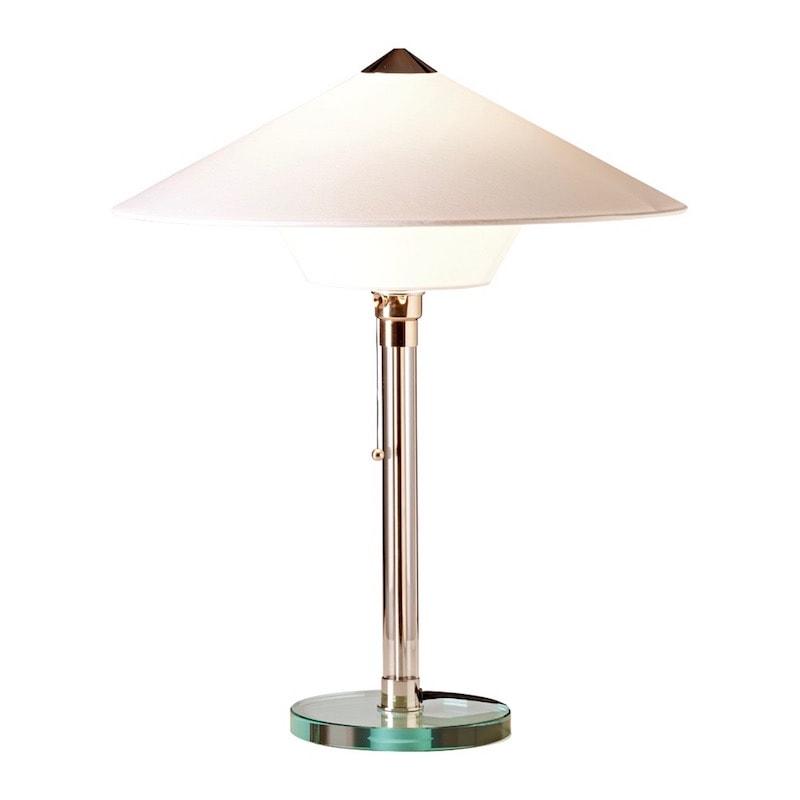 WG 28 Wagenfeld Bordslampa Glasplatta och glasrör, förnicklade metalldelar, vit