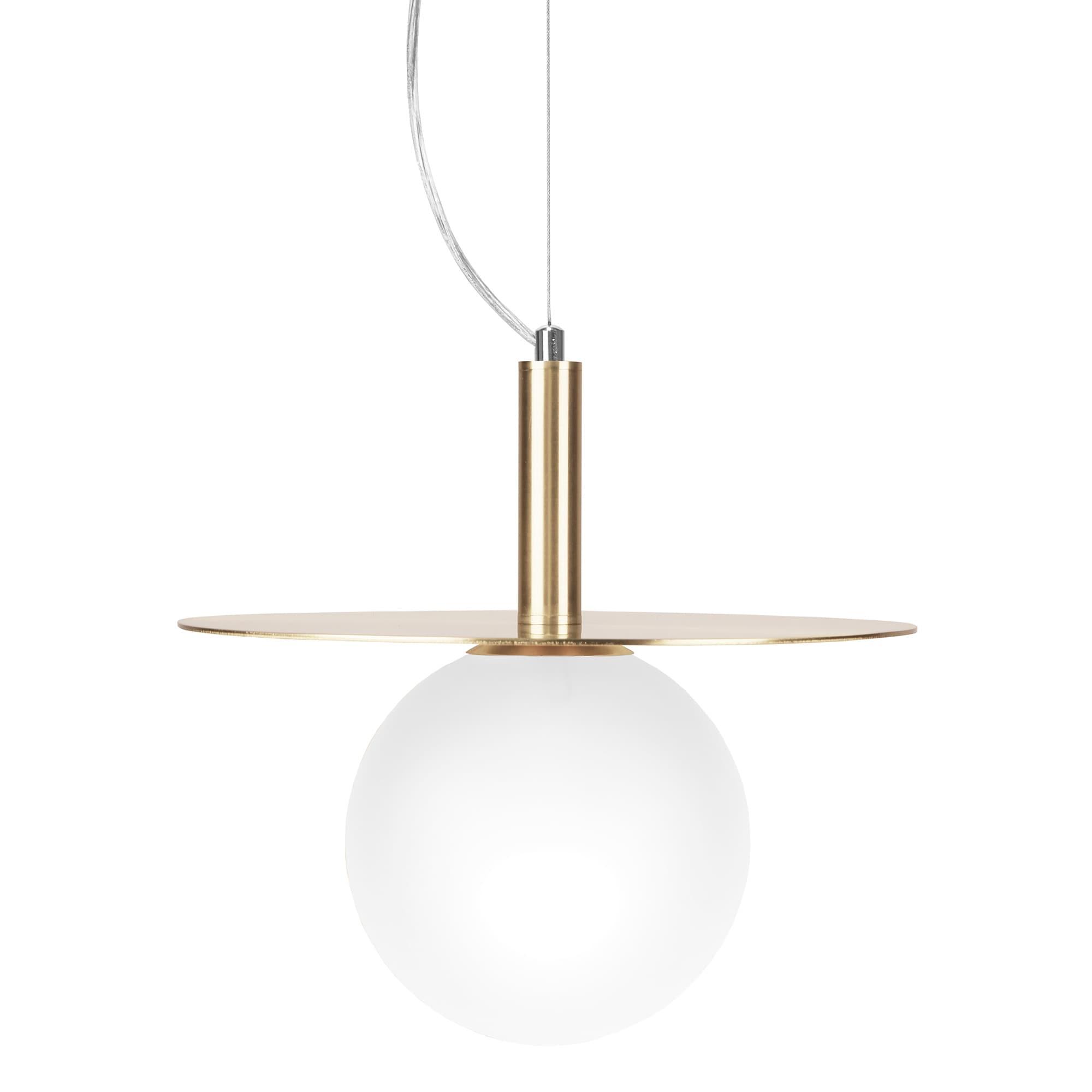 Art Deco taklampa mässing,  opalglas