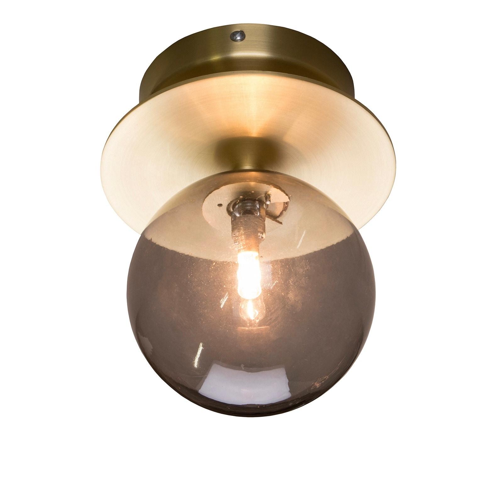 Art Deco plafond/vägglampa mässing, rök färgat glas