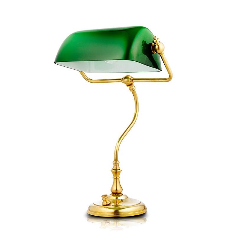 Bankirlampa Bordslampa grön/mässing