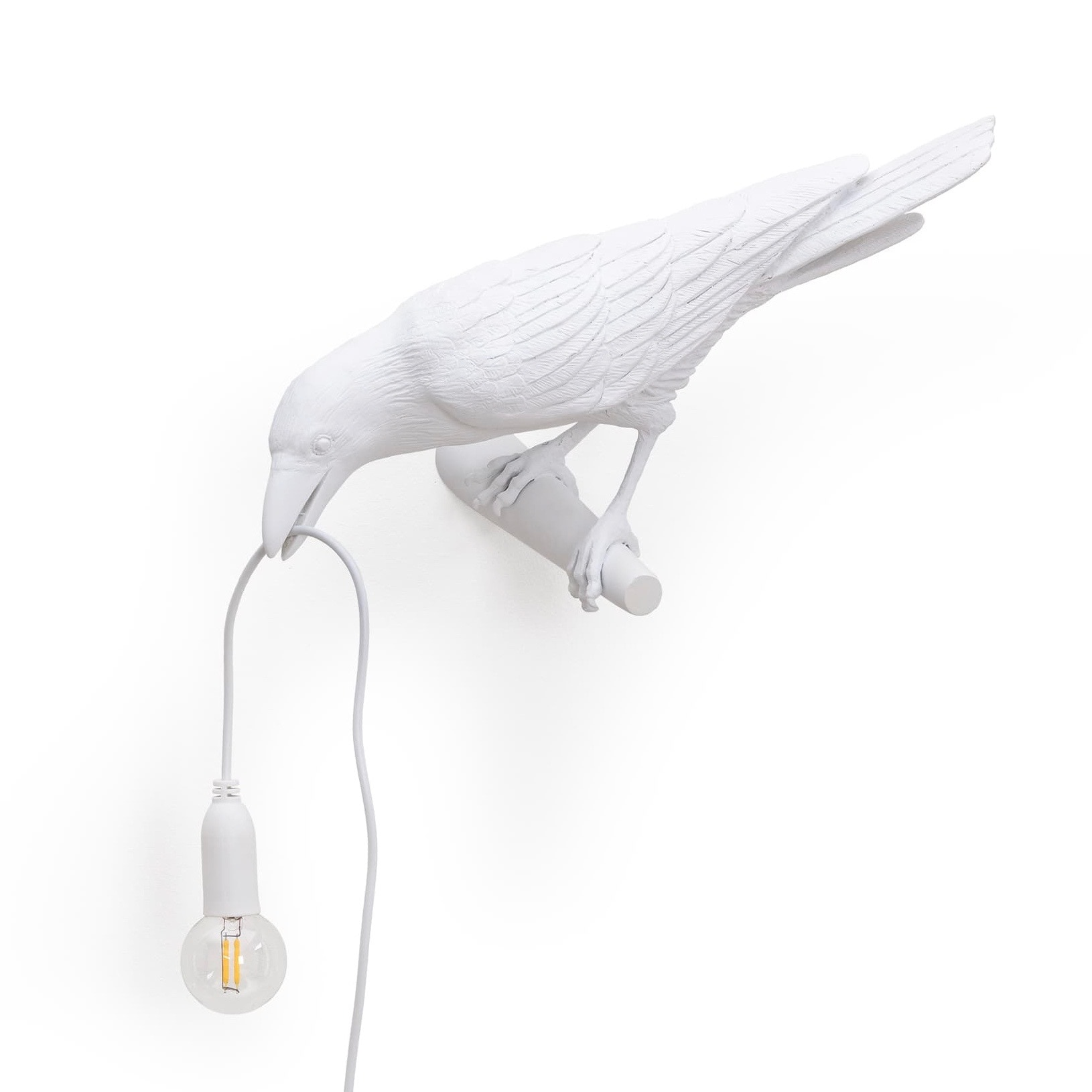 Bird Lamp looking left outdoor vägglampa vit