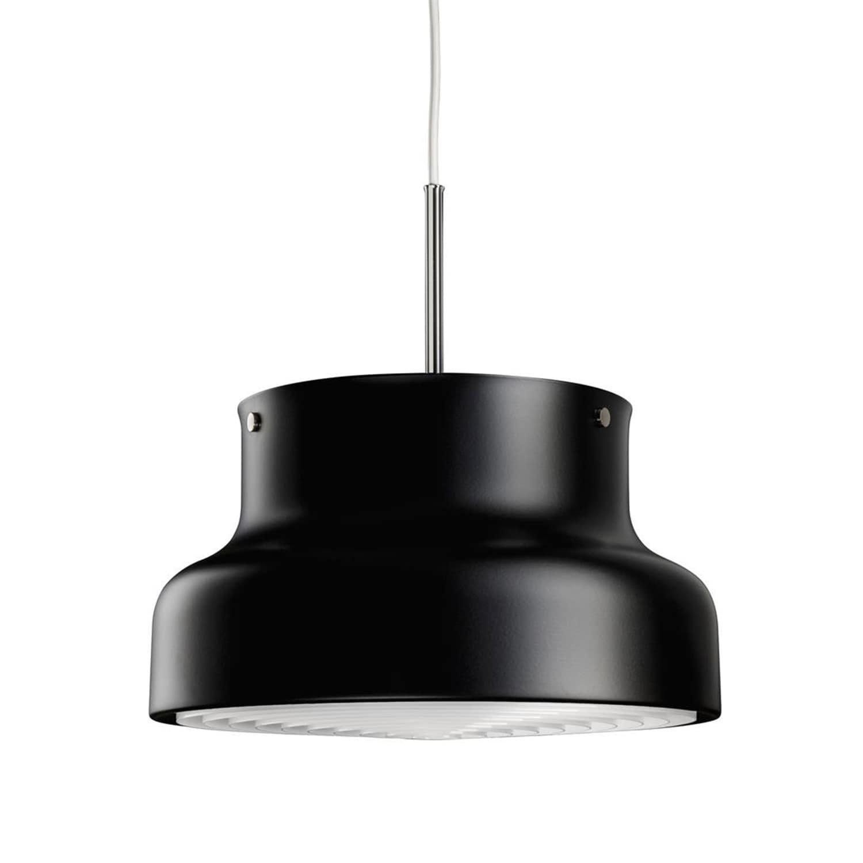 Bumling Ø400 taklampa med ringraster i plast svart struktur