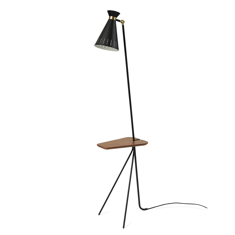 Cone golvlampa med bord black noir