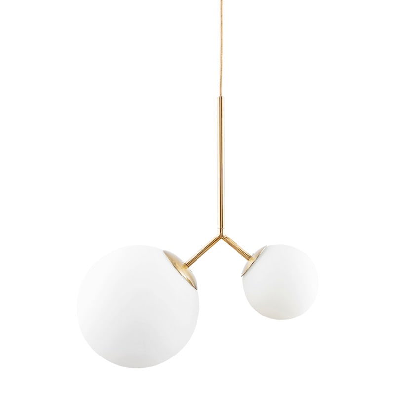 Twice taklampa mässing/opalglas