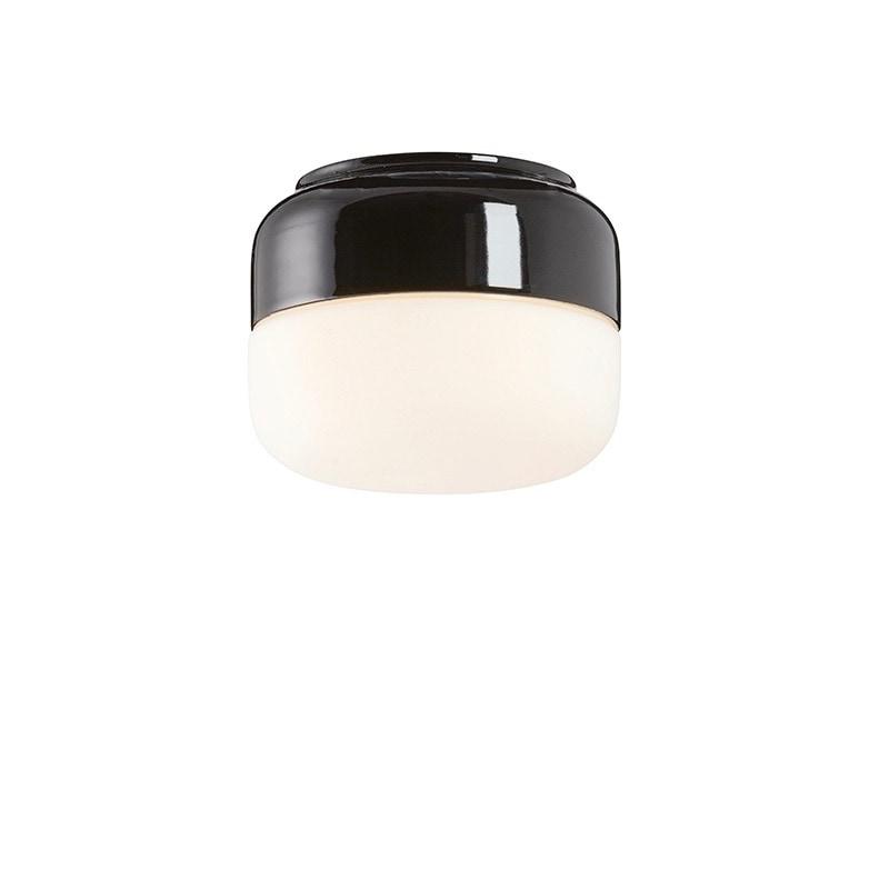 Ohm 140/115mm tak/vägglampa opalglas/svart
