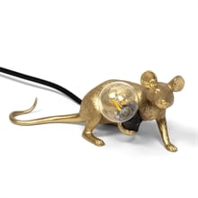 Mouse lamp lop lying down bordslampa gold/black